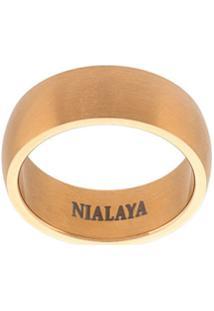 Nialaya Jewelry Anel Com Textura - Amarelo