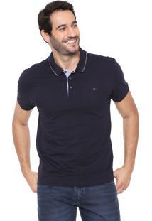Camisa Polo Aramis Reta Pespontos Azul-Marinho