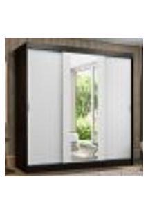 Guarda-Roupa Casal Madesa Reno 3 Portas De Correr Com Espelho - Preto/Branco