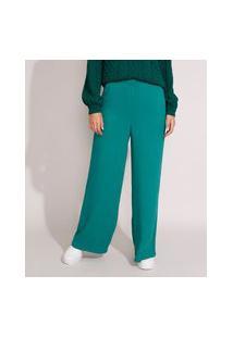Calça Pantalona Com Linho E Bolsos Alfaiataria Cintura Alta Verde