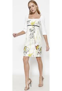 Vestido Com Recortes - Off White & Verde - Versace Cversace Collection