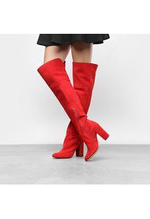 Bota Couro Over The Knee Luiza Barcelos Salto Grosso Feminina - Feminino-Vermelho