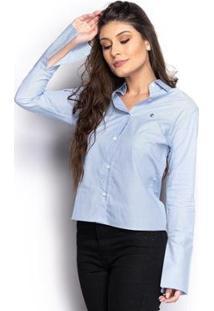 Camisa Camisete Social Feminina Listrada Manga Longa Casual - Feminino-Azul
