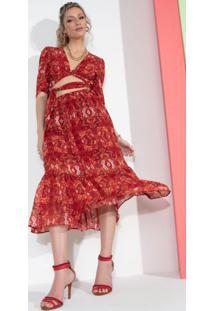 Blusa Floral Vermelho Com Amarração