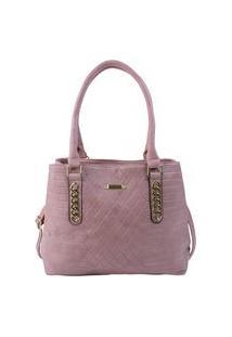 Bolsa De Ombro Feminina Grande Espaçosa Textura E Detalhes Dourados Rosa