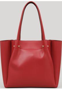 Bolsa Feminina Shopper Com Piercings Vermelha
