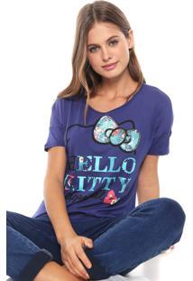 Blusa Cativa Hello Kitty Paetês Azul-Marinho