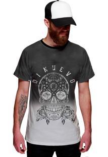 Camiseta Di Nuevo Caveira Mexicana Preta E Branca Com Flor Preta