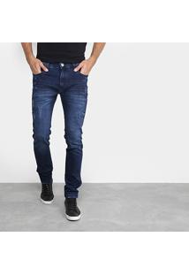 Calça Jeans Preston Com Puídos Masculina - Masculino-Jeans