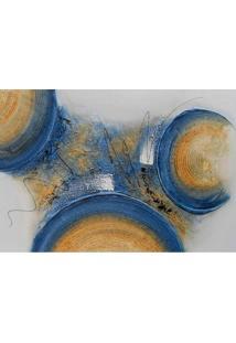 Quadro Artesanal Com Textura Abstrato Ii Azul 70X100 Uniart