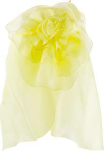 Blumarine Blusa De Organza Com Detalhe Floral - Amarelo