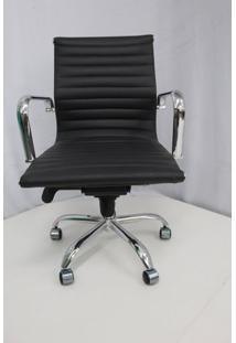 Cadeira Office Outlet Estofada Baixa Preta Cromada - 10 - Sun House