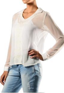Camisa Marcia Mello Viscose C Det Bordado Chiffon Off White