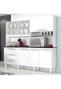 Armário De Cozinha 6 Portas 3 Gavetas Mega Siena Móveis Branco