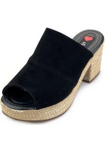 Tamanco Love Shoes Salto Bloco Meia Pata Plataforma Mule Nobuck Preto