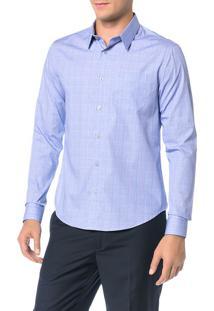 Camisa Slim Calvin Klein Geneva Bolso Príncipe Galles Azul Carbono - 6