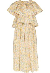 Nackiyé Vestido Midi Floral Com Babados - Amarelo