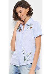 Camisa For Why Listrada Bordada Feminina - Feminino-Azul Claro