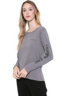 Blusa Calvin Klein Jeans Logo Cinza