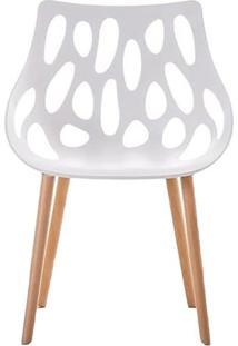 Cadeira Lina- Branca & Marrom Claro- 80X53X57,5Cm