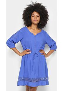 Vestido Pérola Evasê Guipir - Feminino-Azul