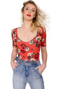 Body Estampa Floral Colcci - Feminino-Vermelho