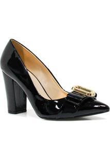 Sapato Zariff Shoes Scarpin Nobuck Verniz - Feminino-Preto