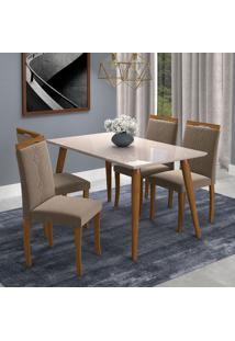 Conjunto De Mesa De Jantar Adele Com Vidro E 4 Cadeiras Laura Suede Off White E Marrom