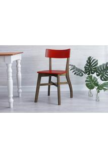 Cadeira De Madeira Bella - Castanho E Vermelho 44X51X82 Cm
