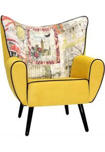 Poltrona Domi Decorativa Kora Print London Preto