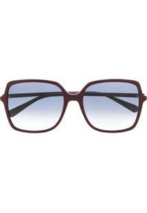 Gucci Eyewear Óculos De Sol Quadrado Oversized - Vermelho