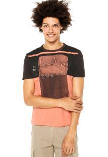 Camiseta Calvin Klein Jeans Estampa Preta/Laranja