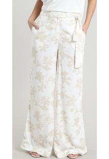 Calça Feminina Pantalona Estampada Floral Com Amarração Off White