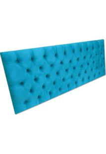 Cabeceira Para Cama Box Viuva 1,30 Em Capitonê Tecido Suede Azul Turquesa