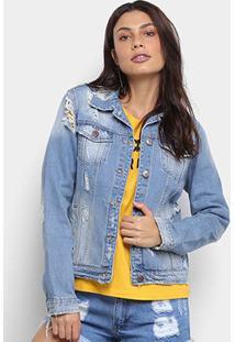 Jaqueta Jeans Carmim Puídos Bolsos Feminina - Feminino-Azul Claro