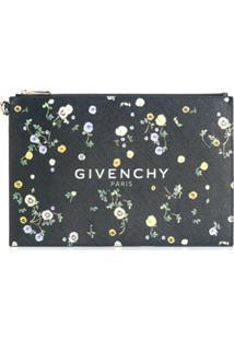 Givenchy Clutch Com Logo E Estampa Floral - Preto
