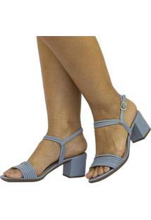 Sandália Feminina Lumiss Salto Grosso Conforto Moda - Feminino-Azul