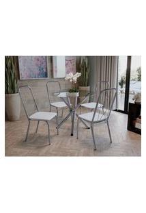 Conjunto Mesa Volga C/ 4 Cadeiras Viena Cromado/Branco Kappesberg
