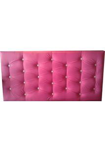 Cabeceira Painel Para Cama Box Master Slim Casal 140X60 Corino Rosa Pink
