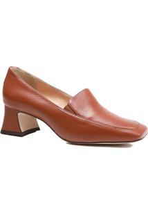 Sapato Feminino Scarpin Zariff Salto Grosso Bico Quadrado