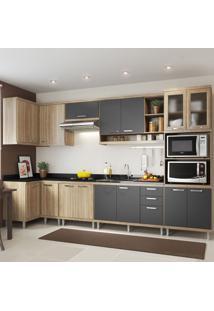 Cozinha Completa 15 Portas 3 Gavetas Sicilia 5830 Premium Argila/Grafite - Multimóveis