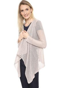 Cardigan Mercatto Tricot Assimétrico Bege