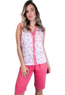 Pijama Pescador Aberto Botões Adulto Curto Feminino - Feminino-Coral