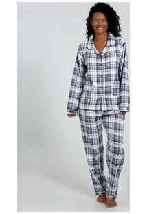 Pijama Feminino Manga Longa Xadrez Marisa