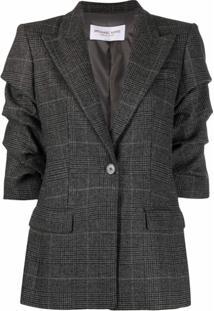 Michael Michael Kors Blazer Com Abotoamento Simples E Mangas Franzidas - Cinza