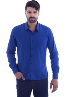 Camisa Slim Fit Live Luxor Azul Royal 2112 - P