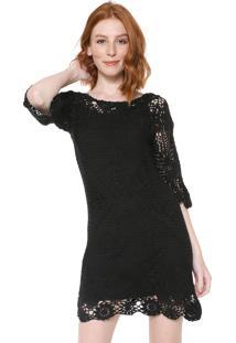 Vestido Desigual Curto Tricot Sara Preto