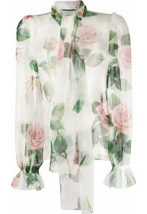 Dolce & Gabbana Blusa Floral Com Laço Na Gola - Branco