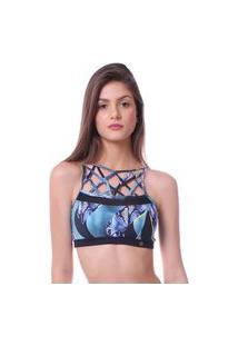 Top Simony Lingerie Trançado Trilobal Fit Abstrato Azul