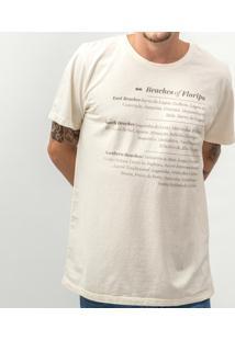 Camiseta Clothis Beaches Of Floripa Masculina - Masculino-Bege